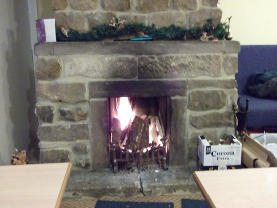 Hadrian Lodge Hotel: The fire place near the bar