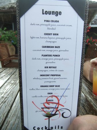 Cocobay Resort: Cocktail menu, very nice!!!