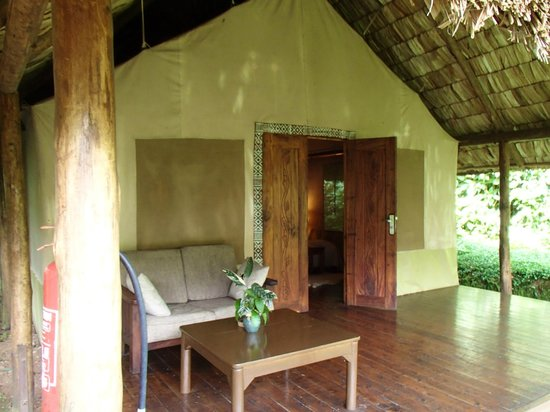 Sanctuary Gorilla Forest Camp: View of the front of the tent, which is part tent and part permanent hut