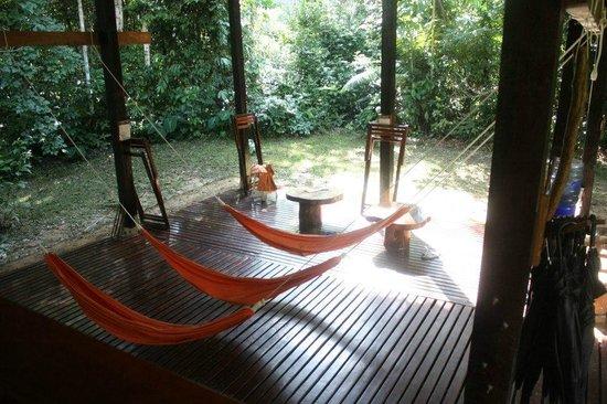 Posada Amazonas: The awesome hammocks in the lobby