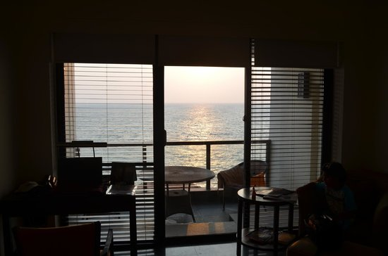 The Leela Kovalam Beach: view from room of setting sun
