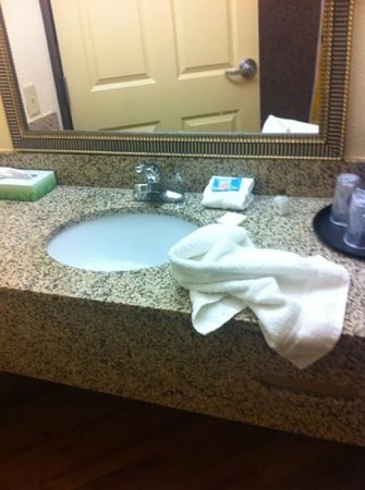 La Quinta Inn & Suites Abilene Mall: what we saw when we first came in to bathroom