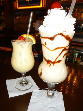 Pusser's Road Town Pub: Painkiller on the left and Bushwacker on the right
