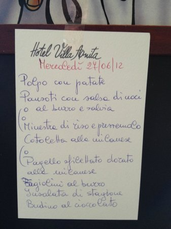 Hotel Villa Anita: Menu
