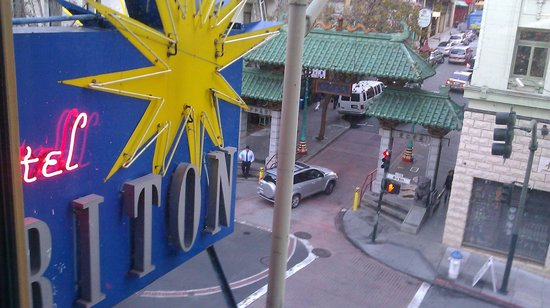 Hotel Triton: view from my room 308, the entrance gates to china town!
