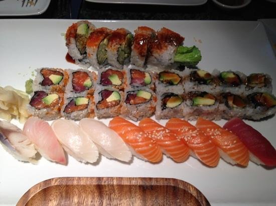 East Moon Asian Bistro & Sushi: Shrimp Tempura Roll, Christmas Roll, Eel Avocado Roll & Nigiri