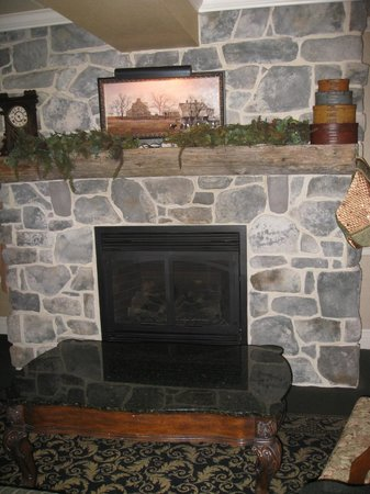 AmishView Inn & Suites: lounge area (fire going in evenings)