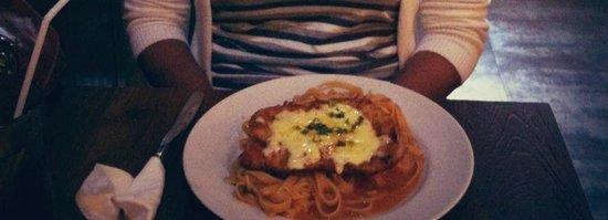 Warung Good Deal: chicken parmigiana with pasta 35k