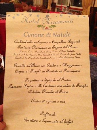 Hotel Miramonti: Manu del cenone di natale