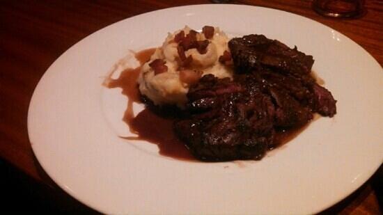Fiori: hangar steak on pancetta mashed potatoes-yum!