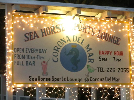 Corona del Mar Hotel & Apartments: Beach front sign.