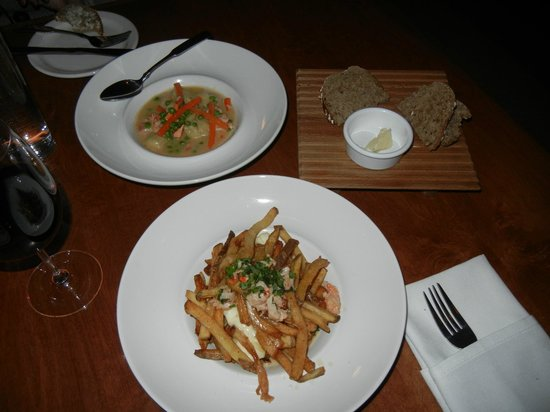 Brava Bistro: Lobster Gnocci (top) with Lobster Poutine (bottom)