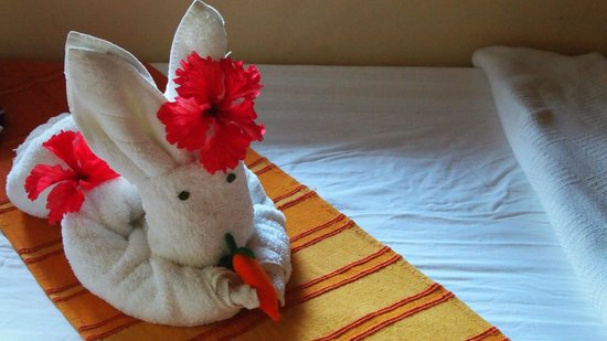 Sleeping Giant Lodge: Towel art
