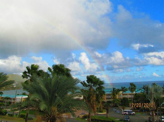 Divi Carina Bay All Inclusive Beach Resort: Rainbow after afternoon rain