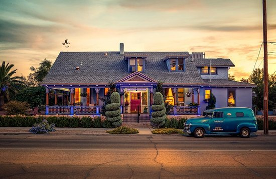 The Big Blue House Tucson Boutique inn: The Big Blue House at dusk