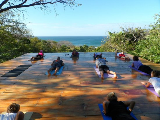 Playa Maderas, Nikaragua: Morning yoga on the deck