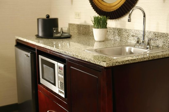 Emby Suites By Hilton Fort Worth Downtown Granite Topped Wet Bar Microwave Coffeemaker