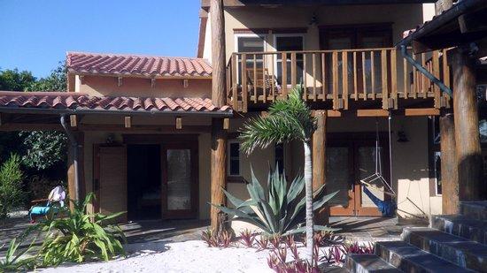Seascape Villas: external view of villa - master bedroom balcony and lower bedroom patios
