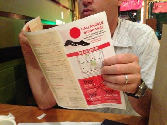 Hallandale Sushi Thai: big tasty menu selection