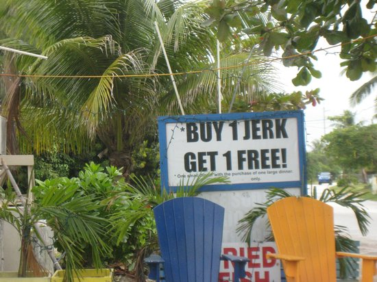 Chester's Jerk Chicken Stand: Look for the sign