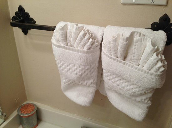 Inn of the Governors: The house keeping staff folds the towels in a charming way