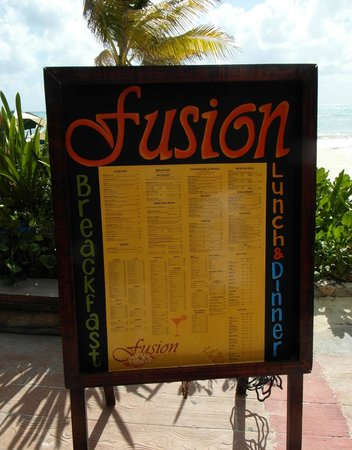 Fusion Bar & Restaurant: Their menu