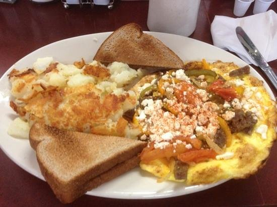 Hank's Place: Greek Frittata with potatoes and toast