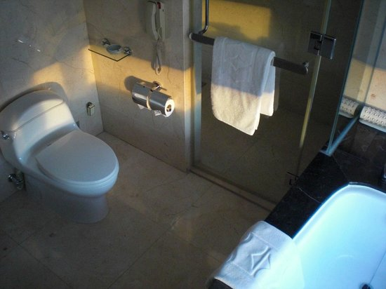 Shangri-La Hotel Bangkok: バスタブ・トイレ・シャワーブース(ビデは未装備)
