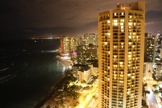 Aston Waikiki Beach Tower: night view from hotel