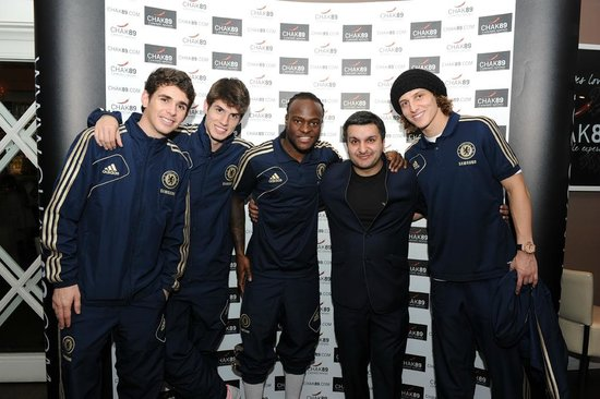 Mitcham, UK: Chelsea FC players Oscar, Lucas Piazón David Luiz, Victor Moses, Mr Frank Khalid and Oscar