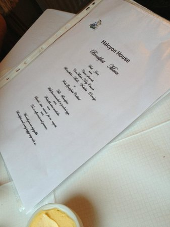 Halcyon Hotel: Breakfast menu