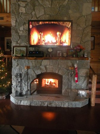 "Evergreen Haus: ""Yule Log"" on tv on fireplace, lol"