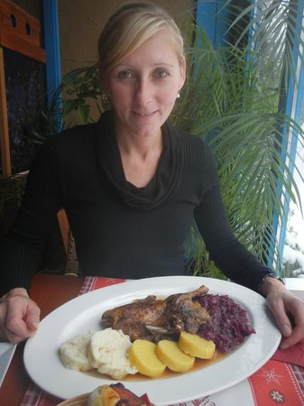 Hlinena Basta : Half Duck with Sauerkraut(red&white) and Potato Dumplings