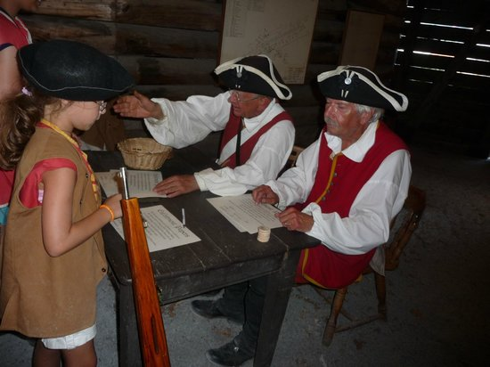 The Fort William Henry Museum & Restoration: Kids got to take home enlistment papers and a wooden nickel.