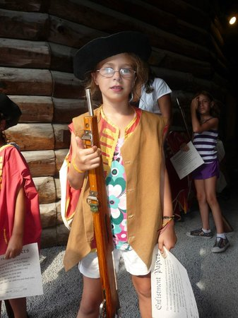 The Fort William Henry Museum & Restoration: One of the costumes the kids got to wear.