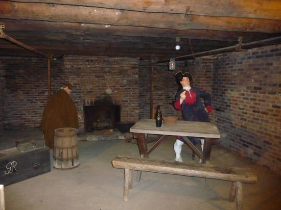 The Fort William Henry Museum & Restoration: A scene in the dungeon.