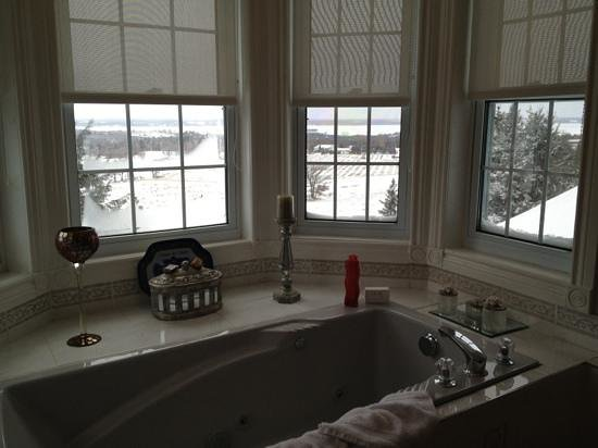 Hillview Haven B&B : View of snow covered rolling hills from the jacuzzi!!