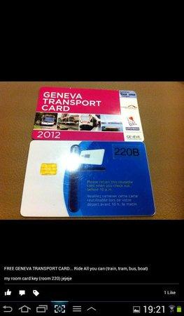 City Hostel Geneva: free transport card & hotel entrance keycard (room keycard too!)