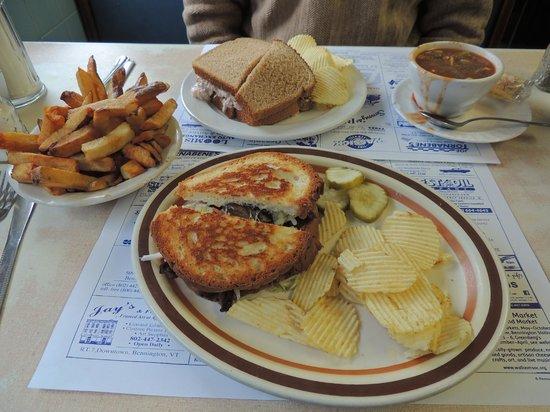 Blue Benn Diner: portabella ruben sand w/ french fries.