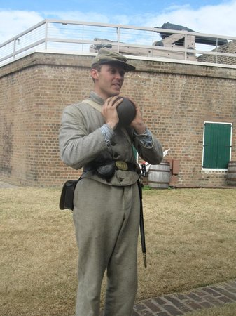 Old Fort Jackson: Soldier with Canon Ball