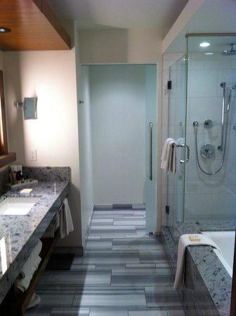 Fairmont Pacific Rim: Shower and separate toilet with divider door.