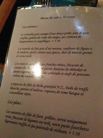 Le Dix-Huitieme: menu 29/12/2012