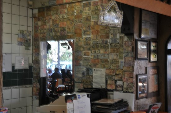 Tapatio's Restaurant Mexicano: Money collection on wall