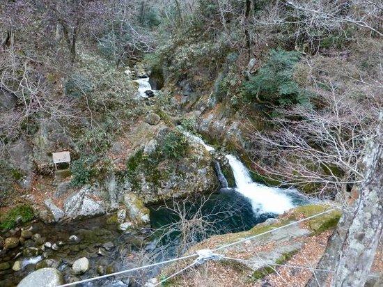 Hananuki Valley: 汐見滝。吊橋の上からだからこそ、この全容が見下ろせます。