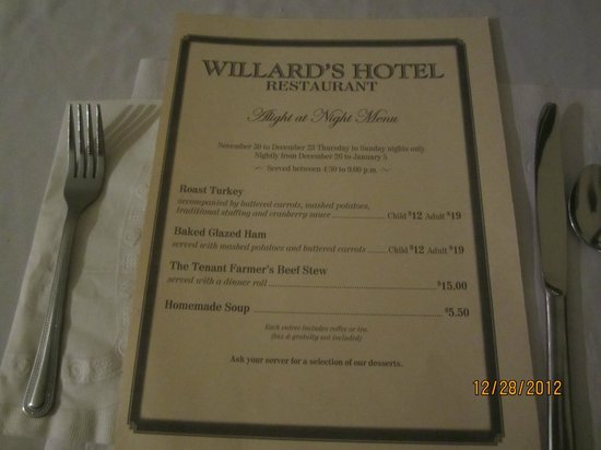 Upper Canada Village: Willard's Hotel menu