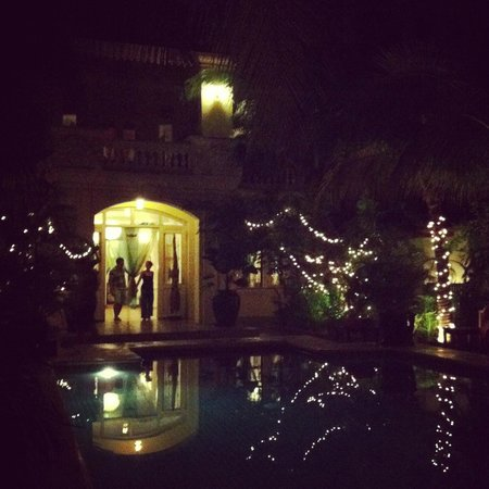 The Pavilion: The pool area at night!