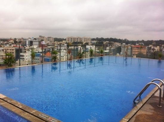 Hotel Royal Orchid: roof top pool and surrounding city.