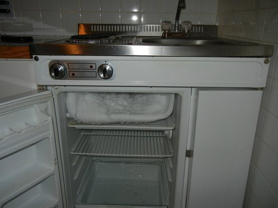 Lorraine Hotel: fridge / freezer - whole top shelf is ice