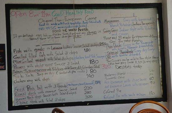 Shambala Restaurant: Daily Specials Board