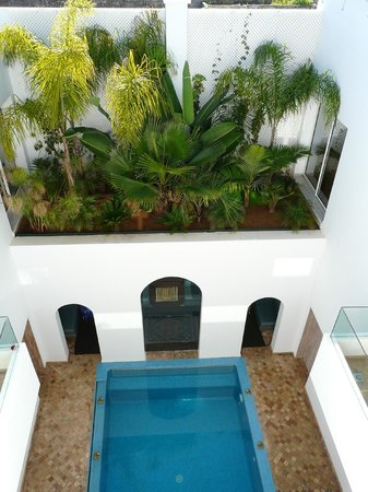 Riad Zyo : part of court yard and pool with garden above